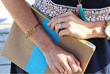 Gold Tone Monogram Bangle Bracelet | Filigree Style