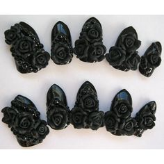 "3D deco nails ""Gothic Romance"" black rose gothic nails. ($25) ❤ liked on Polyvore featuring beauty products, nail care, nail treatments, makeup and nails"