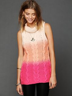 Free People Short Sleeved Dip Dye Cable Cowl Neck Sweater at Free People Clothing Boutique