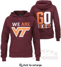 a34162ec7 VA Tech 'We are VT' Ladies Hooded Sweatshirt from Campus Emporium. Va Tech