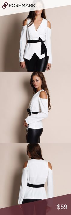 """Wrap Cold Shoulder Blazer Top Wrap cold shoulder top with a tie waist. This is an actual picture of the item - all photography done personally by me. Model is 5'9"""" 32-24-36. Brand new. True to size. NO TRADES. PRICE IS FIRM. Bare Anthology Tops Blouses"""