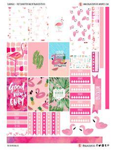 Free Printable Flamingos Planner Stickers from Organized Potato
