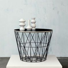 Wire basket and geometry vases Ferm Living