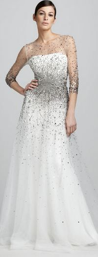 MARCHESA COUTURE  White Sequined Illusion Gown