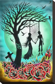I can't explain how much I love this. It has so much stuff I like. Skeletons? Check. Cute lovey stuff? Check. Roses? Check. Spiderwebs? Check. Moon? Check. Creepy dead trees? Check. Nooses? Check. And more. :3 (Don't ask about the noose thing. I just love them.)