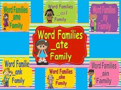 This bundle contains 7 Power Points, printables and posters to introduce seven long a rhyming words/word families (ay, ate, ake, ail, ank, ain, ame).  Each slide begins with the letters of the word family, then students are told to add a letter to make a word.