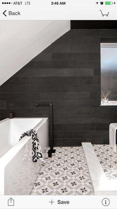 Cementine black white floor