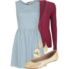 The shade of blue on this dress is pretty, but I'd prefer a different cardigan color and an almond toe shoe. The earrings are a bit outside my usual style, but I like how they tie with the flats. The ring is right out, though.