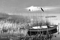 Peaceful Ocean Art Print Ocean Marshes Row Boat by FineArtography