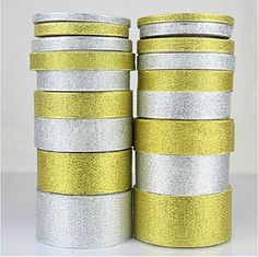 1/4' metallic sparkle shining gold silver decorative gift packing ribbons set of 5 (gold metallic) *** Visit the image link more details.