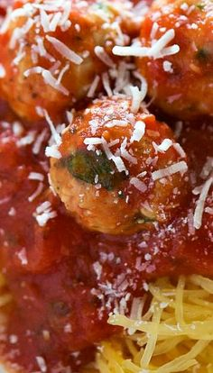 Skinny Sun Dried Tomato Meatballs with Spaghetti Squash