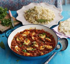 Try something new with this aromatic, vegetarian, tomato-based curry packed with boiled eggs and served with spiced basmati