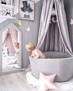A cute little girl's playroom by Andrea Lingjerde, Miffy lamp available at www.i A cute little girl's playroom by Andrea Lingjerde, Miffy lamp available at www. Baby Bedroom, Nursery Room, Girl Nursery, Girls Bedroom, Baby Rooms, Nursery Decor, Nursery Grey, Kids Rooms, Room Baby