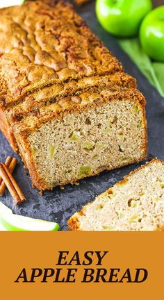 This homemade Easy Apple Bread is filled with warm cinnamon and fresh apples! It's so soft, moist and dense with a perfectly crispy crust! It's the perfect fall breakfast or snack recipe! Apple Recipes, Pumpkin Recipes, Fall Recipes, Snack Recipes, Dessert Recipes, Fall Desserts, Delicious Desserts, Yummy Food, Breakfast Bread Recipes