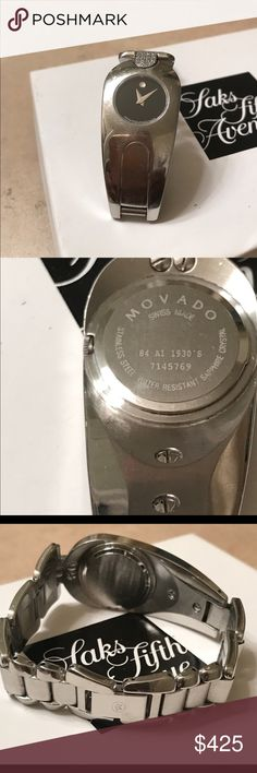 Movado💎 Watch RARE & Unique style. I purchased this beautiful watch in 2016. There are no missing stones. The band is stainless steel and water proof.  Fits most wrist size. It may need to be professionally polished.  I have recently purchased another Movado and have no need for 2 Silver watches. This style was from a limited collection and the style is extremely unique & Rare. The face has the Movado iconic style- Black with one diamond. It also needs a new battery.  The watch works…