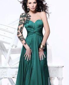 Yeşil Straplez Drape Uzun Elbise