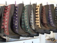 9 button boots on display