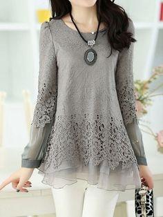 Ladylike Round Neck Lace  Shirt Long sleeve T-shirts from fashionmia.com