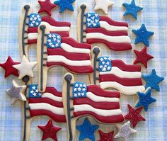Fourth of July Cookie Platter  3 dozen decorated by KimbosCookies, $48.00