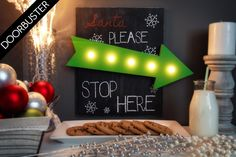 Holiday Weekend Price! Light up LED Santa Please Stop Here Sign.