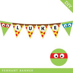 Printable TMNT banner! With pizza slices!! :)