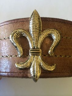 Leather cuff bracelet upcycled fleur de by outoftheblueVINTAGES, $45.00