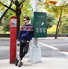 Pelayo Diaz spotted wearing a sweater from the Fall 2014 collection.