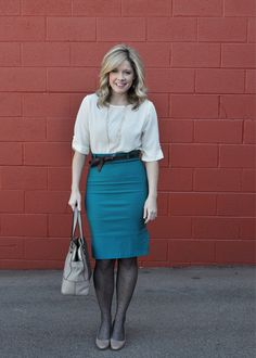 Indian teal skirt with cream blouse & gray bag & shoes