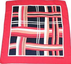 Christian Dior vintage silk scarf - Red and navy blue striped print - Medium