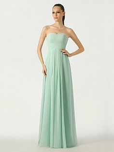 Mint Sweetheart Chiffon Bridesmaid Dress with Lace Up Back - USD $89.99