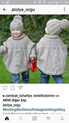 Baby Knitting Patterns Poncho Temptation poncho and hat set is stylish and super cosy clothing for your little. Baby Knitting Patterns, Knitting For Kids, Baby Patterns, Free Knitting, Knitting Projects, Crochet Patterns, Knitting Kits, Knitting Tutorials, Blanket Patterns