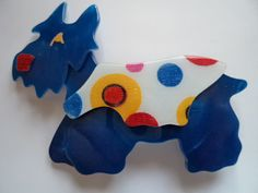 Vintage Signed Lea Stein Blue Kimdoo Dog Brooch/Pin