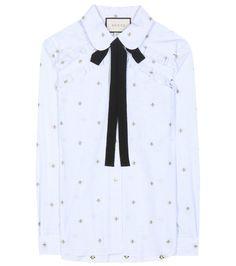 GUCCI Ruffled Cotton-Jacquard Shirt. #gucci #cloth #tops