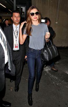 Miranda Kerr Street Style - High Waisted Dark Jeans