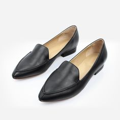 c7cc62098cd The Classic Loafer - black leather womens pointed toe flat - Poppy Barley  Black Leather Flats