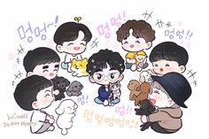 EXO and their fur babies ♥️✨♥️ Kpop Drawings, Cute Drawings, Exo Cartoon, Exo For Life, Exo Anime, 5 Years With Exo, Exo Fan Art, Exo Xiumin, Cute Chibi