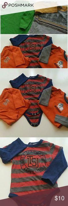 Baby Bundled Long Sleeve Tees & Onsies Combo Size 12M,  2/ long sleeve tees.  3/ long sleeve onsies 5 Items Total Shirts & Tops