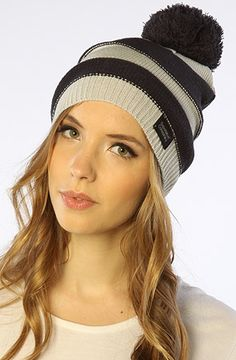The Ife Stripe Knit Pom Beanie in Arctic Cloud by WeSC