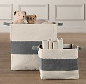 Toy storage for living room. I think I could tolerate toys in the living room if they were in these cute bags.