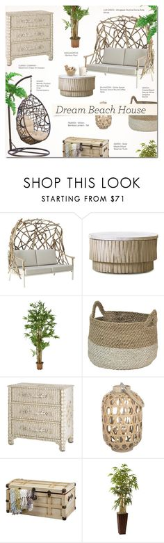 """""""VACATION VIBES: DREAM BEACH HOUSE"""" by larissa-takahassi ❤ liked on Polyvore featuring interior, interiors, interior design, home, home decor, interior decorating, DutchCrafters, Nearly Natural and contemporary"""