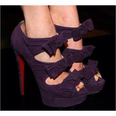 Bows Bows Bows, Christian Louboutin dark purple suede high heel bow pumps (booties)