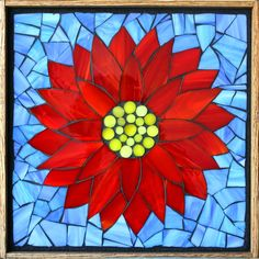 Student Work from a Kasia Mosaics Stained Glass Mosaic Flower Workshop - Water Lily by Sonia Sign up for a class near you via www.kasiamosaics.com