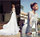 New Sexy White/Ivory Wedding Dress Bridal Gown Lace Custom Size 6-8-10-12-14-16