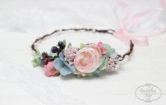 Pelo Boho accesorios flor halo Flor nupcial corona por ByKochetova