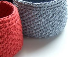 Crochet these simply texture baskets to hold all kinds of treasures ~ use any worsted weight (or heavier) cotton. There are three sizes, and they nest nicely. Instructions are included for two special stitches, and there is also a link to a great video for learning the easy double adjustable loop!