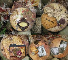 Altered Cd book made from real Cd's covered with pattern papers, inked, stamped and distressed. Mini tags, photos and other embellishments added to complete the design. Bound together with one book ring tied with lots of fibers.