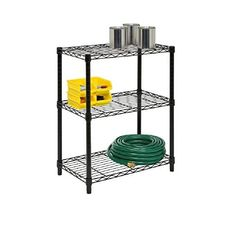 Honey-Can-Do Steel Urban Adjustable Storage Shelving Unit Black Storage and Organization Garage Organizers Shelving Units Garage Shelving Units, Steel Shelving Unit, Shelving Racks, Shelving Systems, Metal Shelves, Wire Shelving, Adjustable Shelving, Storage Organization, Storage Spaces