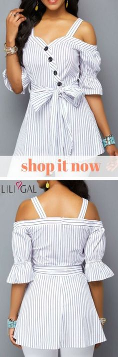 Cold Shoulder Belted Zipper Back White Blouse Bloom Fashion, Diy Fashion, Fashion Outfits, Casual Wear, Casual Outfits, Stylish Clothes For Women, Elegant Outfit, Mode Style, Sewing Clothes