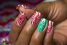 Christmas Simples: MoYou London Candy Cane Swirl Nail Art   Tutorial!