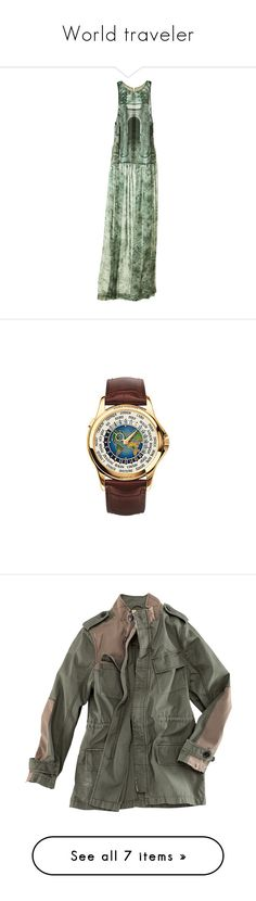 """""""World traveler"""" by llbo ❤ liked on Polyvore featuring dresses, h&m dresses, green color dress, green dress, jewelry, watches, accessories, bracelets, patek philippe and patek philippe watches"""
